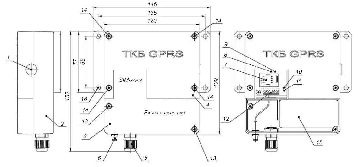 Внешний вид, габаритные и присоединительные размеры GPRS-модема ТКБ с внешним датчиком импульсов