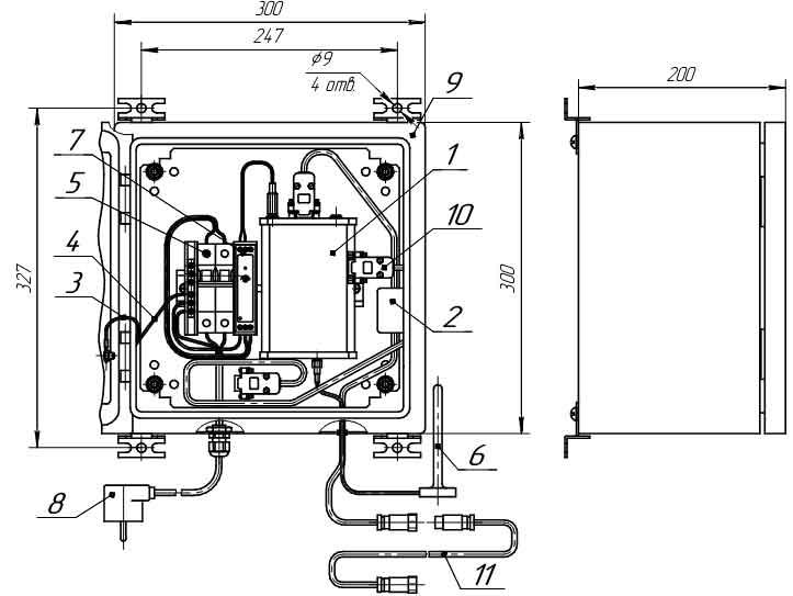 Внешний вид, присоединительные размеры и габариты модуля связи MC-iMod-Vega-1