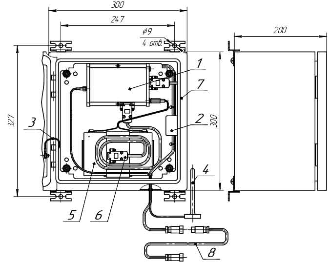Внешний вид, присоединительные размеры и габариты модуля связи MC-iMod-Vega-2