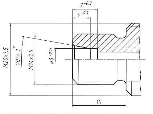 Присоединительные размеры к импульсной трубке датчика давления корректора газа Вега-1.01