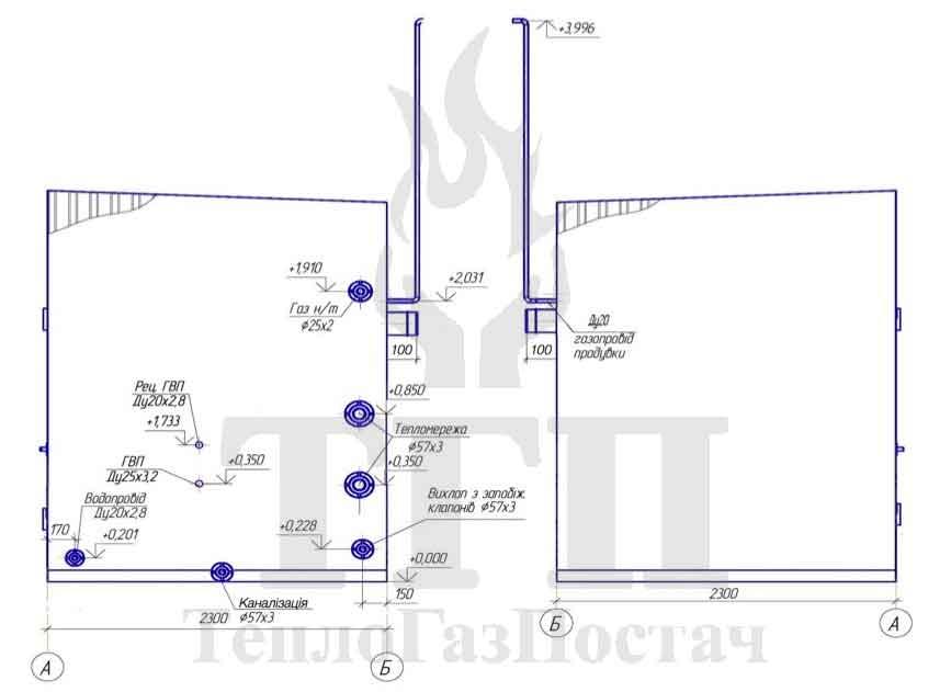 Габаритные размеры блочной газовой котельной КУМ-100-КТН50СЕ-30