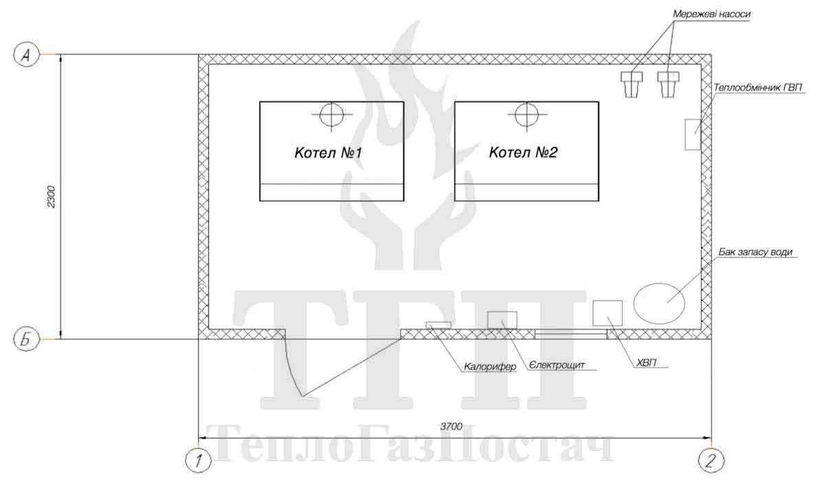 План размещения оборудования блочной газовой котельной КУМ-100-КТН50СЕ-30
