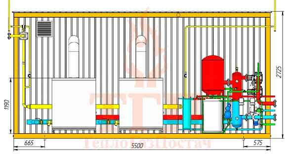 Размещение оборудования газовой котельной 200 кВт с котлами КТН 1.100 СЕ и ГВС вид спереди