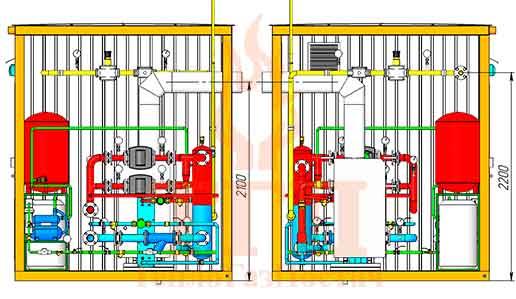 Размещение оборудования газовой котельной 200 кВт с котлами КТН 1.100 СЕ и ГВС вид сбоку