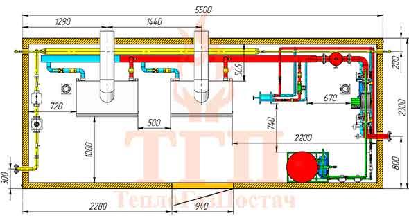 Размещение оборудования газовой котельной 200 кВт с котлами КТН 1.100 СЕ и ГВС вид сверху
