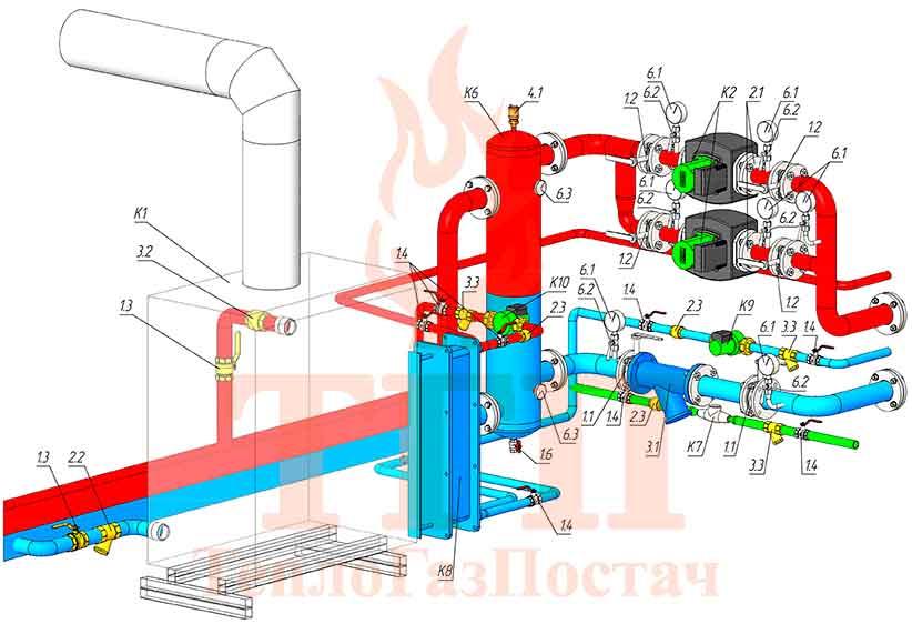 Тепломеханическая схема модульной котельной 200 кВт на котлах КТН 1.100 СЕ и ГВС КУМ-200-КТН-1.100СЕ-100