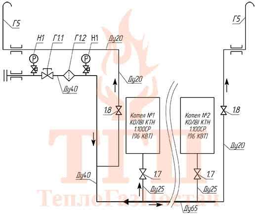 Схема принципиальная газовая БТК 200 кВт на котлах КТН 1.100 СЕ и ГВС КУМ-200-КТН-1.100СЕ-100