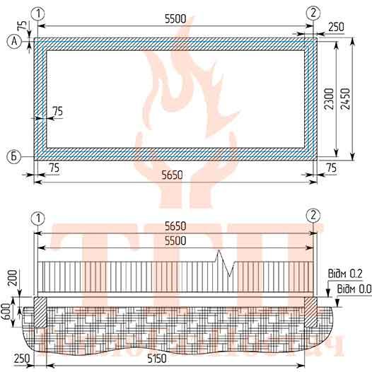 Фундамент под блочную газовую котельную 200 кВт на котлах КТН 1.100 СЕ и ГВС КУМ-200-КТН-1.100СЕ-100