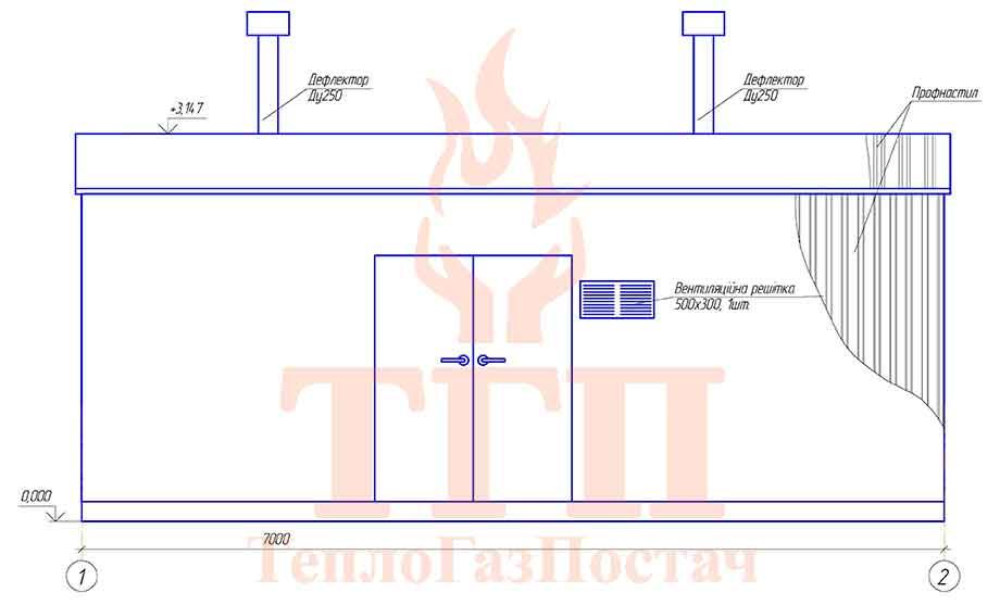 Габаритные размеры и внешний вид блочной котельной 200 кВт с котлами КВТ-100 КУМ-200-КВТ-100 фронт