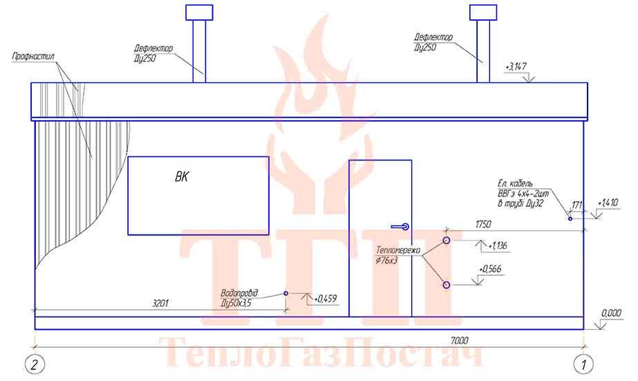 Габаритные размеры и внешний вид блочной котельной 200 кВт с котлами КВТ-100 КУМ-200-КВТ-100 тыл