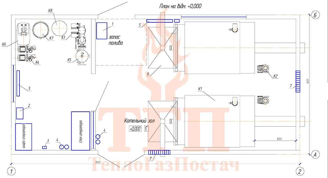 Размещение оборудования газовой котельной 200 кВт с котлами КВТ-100 КУМ-200-КВТ-100 вид сверху