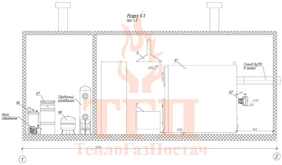 Размещение оборудования газовой котельной 200 кВт с котлами КВТ-100 КУМ-200-КВТ-100 вид сбоку