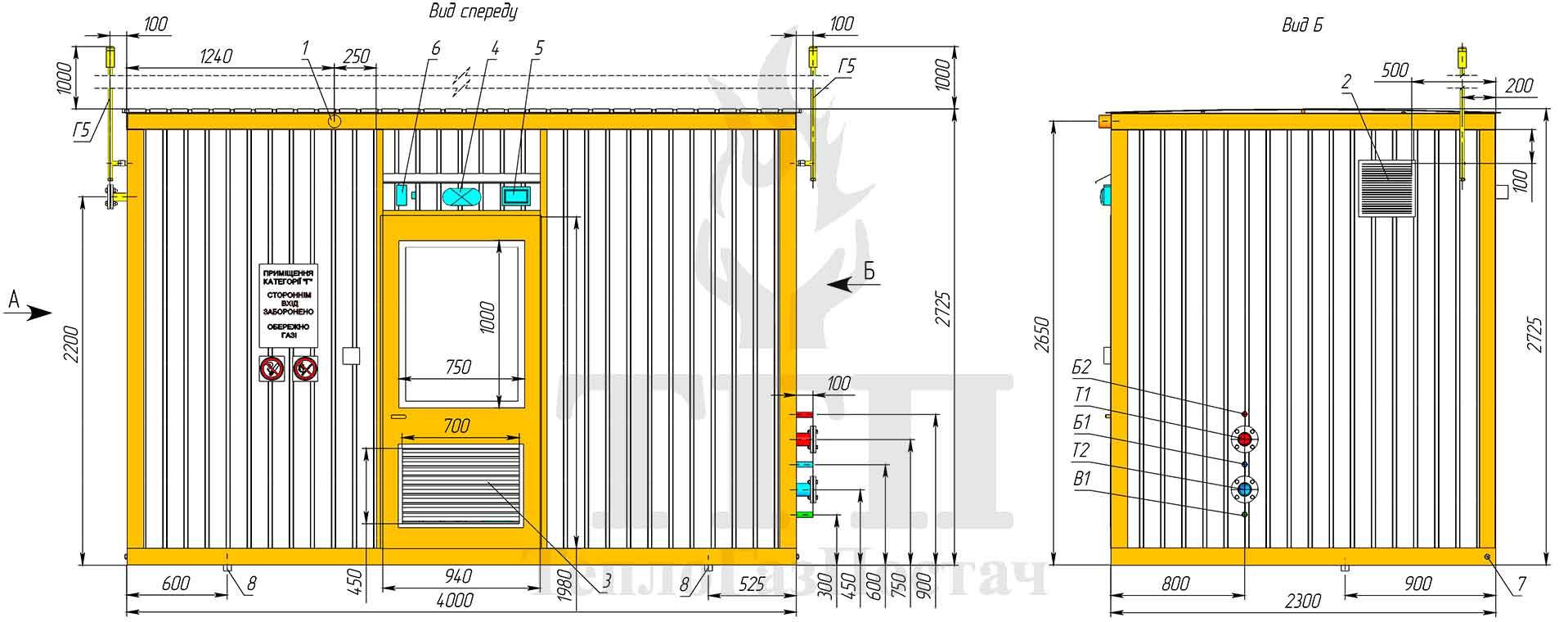 Габаритные размеры и внешний вид блочной котельной 200 кВт с котлами Therm TRIO 90 и ГВС