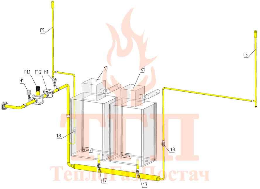 Газовая схема котельной 200 кВт на котлах Therm TRIO 90 и ГВС КУМ-200-Therm-TRIO-90-100