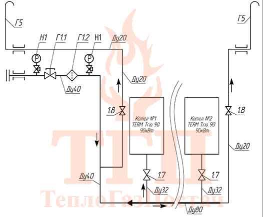 Схема принципиальная газовая БТК 200 кВт на котлах Therm TRIO 90 и ГВС КУМ-200-Therm-TRIO-90-100