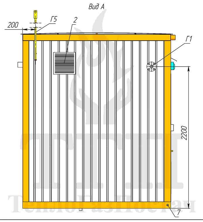 Габаритные размеры и внешний вид блочной котельной 200 кВт с котлами Therm TRIO 90 и ГВС 1