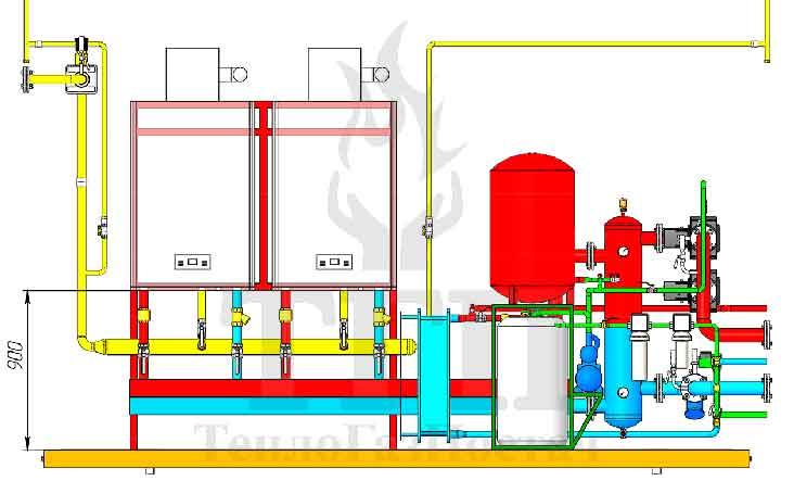 Размещение оборудования газовой котельной 200 кВт с котлами Therm TRIO 90 и ГВС вид спереди