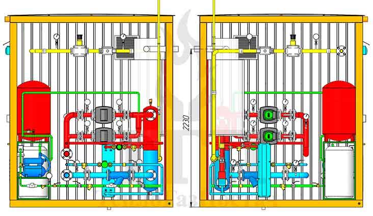 Размещение оборудования газовой котельной 200 кВт с котлами Therm TRIO 90 и ГВС вид сбоку