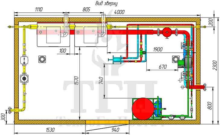 Размещение оборудования газовой котельной 200 кВт с котлами Therm TRIO 90 и ГВС вид сверху