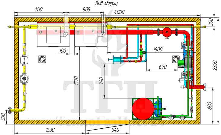 Размещение оборудования газовой котельной 200 кВт с котлами Therm TRIO 90 и ГВС 2