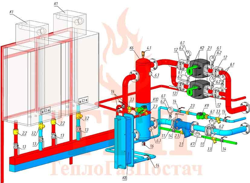 Тепломеханическая схема модульной котельной 200 кВт на котлах Therm TRIO 90 и ГВС КУМ-200-Therm-TRIO-90-100