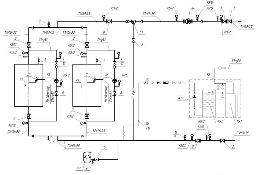 План размещения оборудования блочной котельной 200 кВт с котлами Altep Duo-Plus-95 1