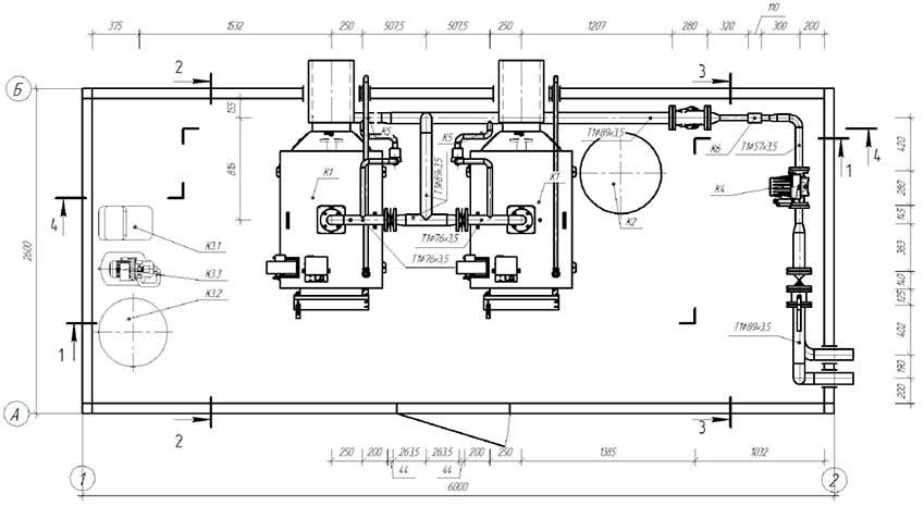 План размещения оборудования блочной котельной 200 кВт с котлами Altep Duo-Plus-95 2