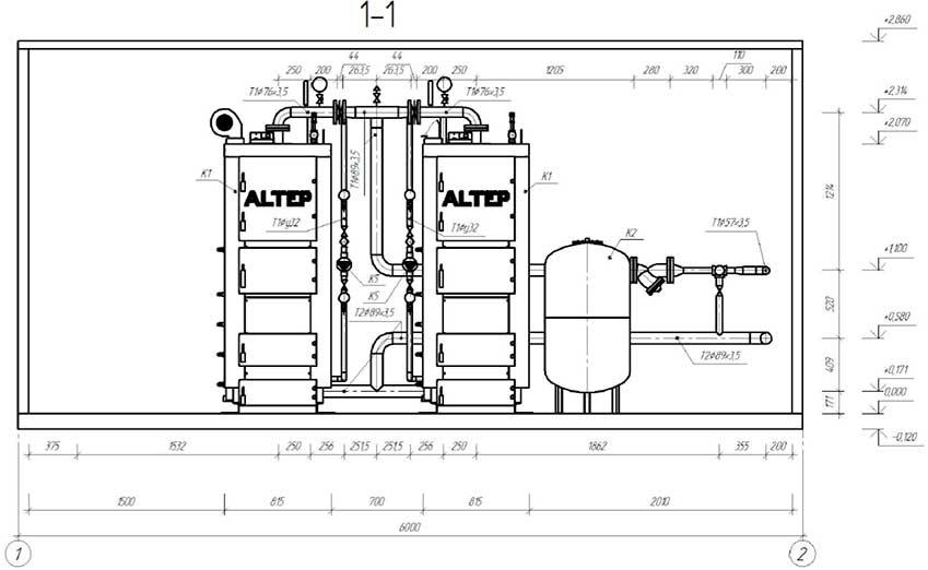 План размещения оборудования блочной котельной 200 кВт с котлами Altep Duo-Plus-95 3