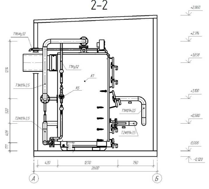План размещения оборудования блочной котельной 200 кВт с котлами Altep Duo-Plus-95 4
