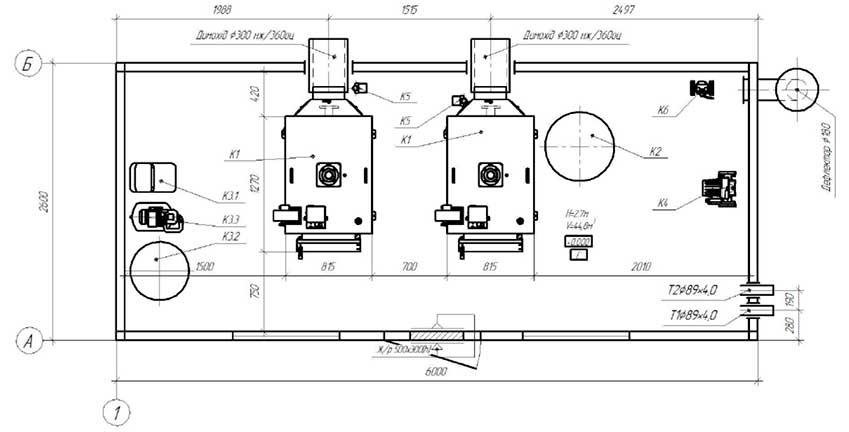 План размещения оборудования блочной котельной 200 кВт с котлами Altep Duo-Plus-95