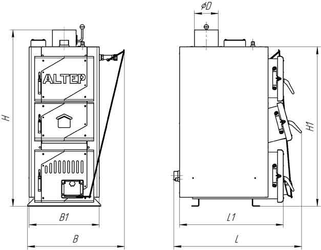 Габаритные размеры котла на твердом топливе Altep Classic 30 кВт