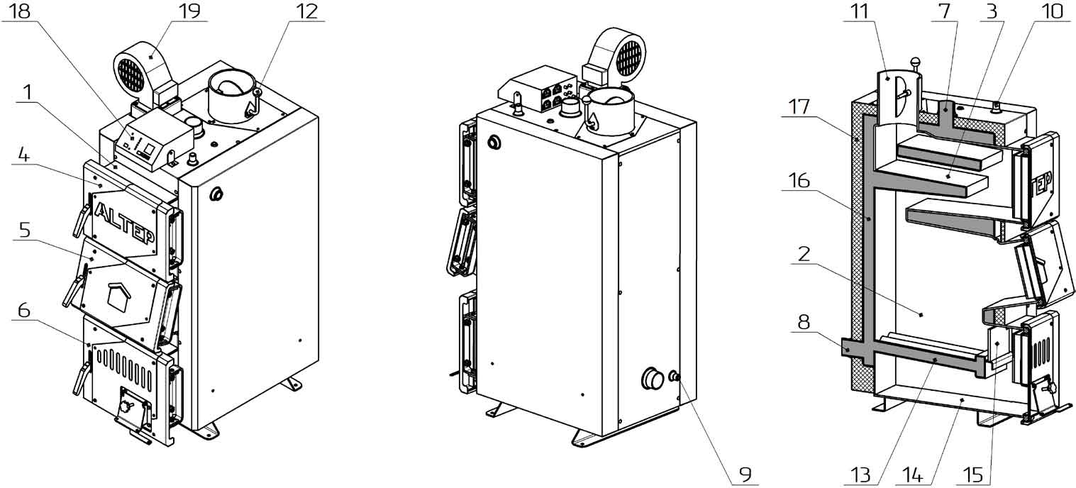 Конструкция твердотопливного котла Altep Classic Plus 30 кВт