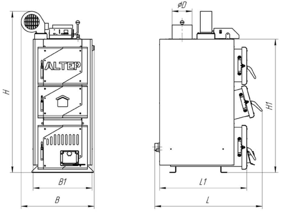 Габаритные размеры котла на твердом топливе Altep Classic Plus 16 кВт