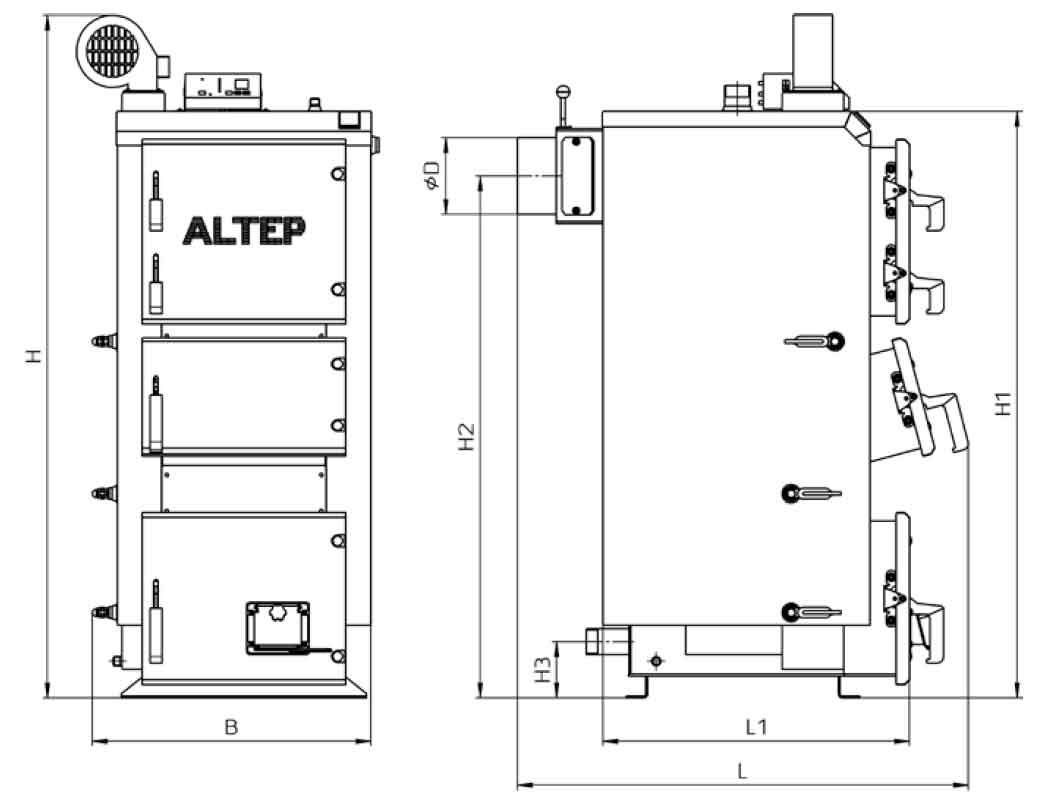 Габаритные размеры котла на твердом топливе Altep Duo Plus 25 кВт