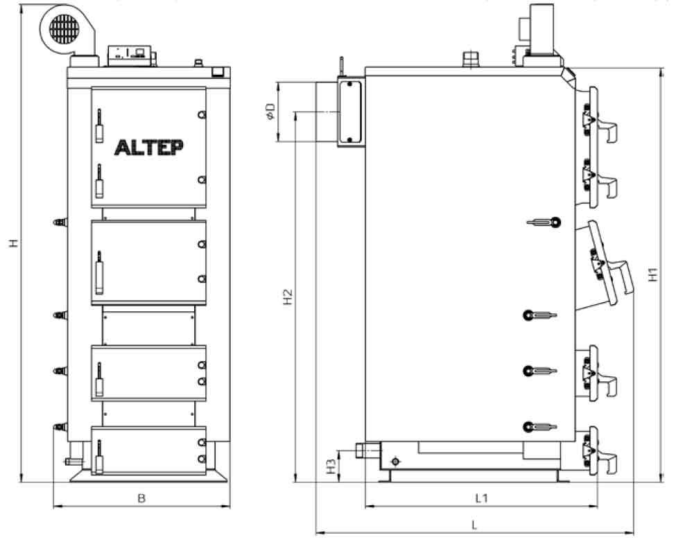 Габаритные размеры котла на твердом топливе Altep Duo Plus 75 кВт