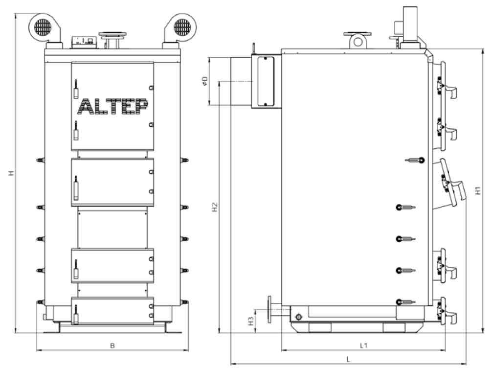 Габаритные размеры котла на твердом топливе Altep Duo Plus 250 кВт