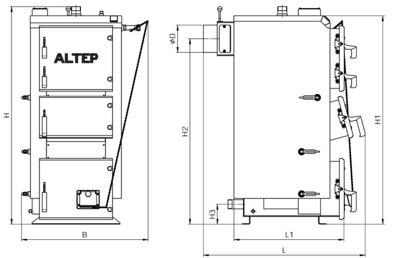Габаритные размеры котла на твердом топливе Altep Duo 31 кВт