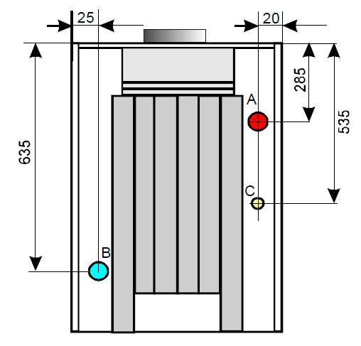Присоединительные размеры чугунного газового котла ATTACK 45 P