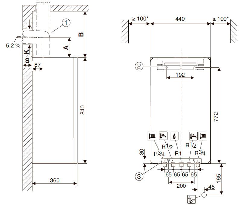 Присоединительные размеры и минимальные расстояния для установки конденсационного котла Bosch Condens 7000i W GC7000iW 24 P 23