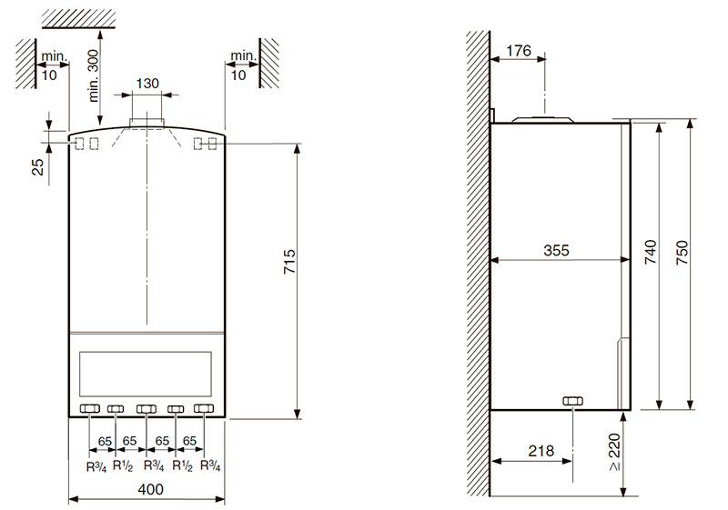Габаритные и присоединительные размеры газового котла Bosch Gaz 4000 W ZWA 24-2 K