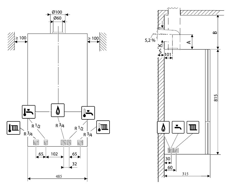 Присоединительные размеры и минимальные расстояния для установки газового котла Bosch Gaz 6000 W WBN 6000-35H