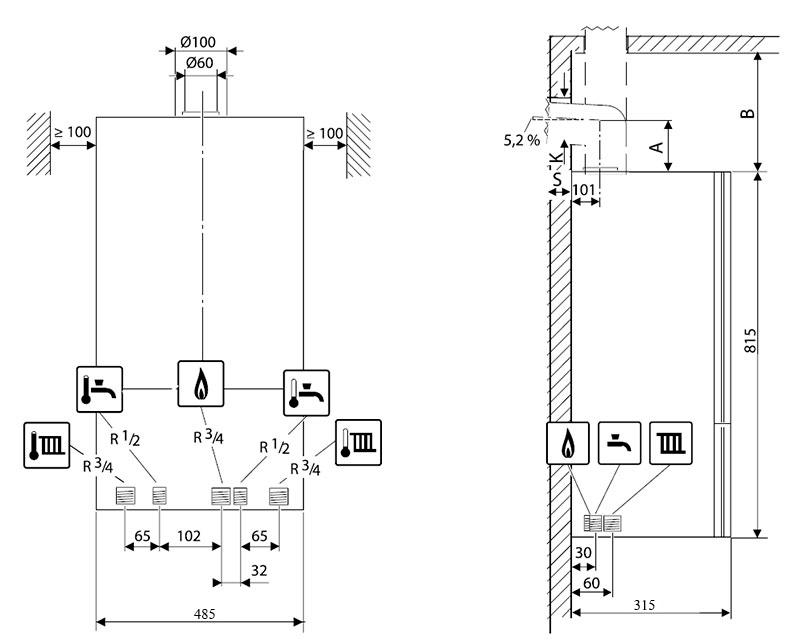 Присоединительные размеры и минимальные расстояния для установки газового котла Bosch Gaz 6000 W WBN 6000-35C
