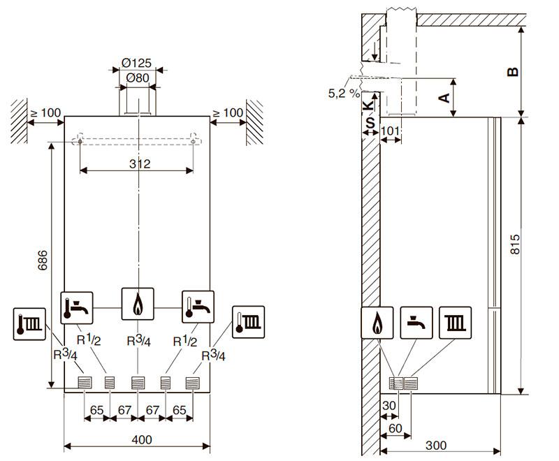Присоединительные размеры и минимальные расстояния для установки конденсационного котла Bosch Condens 2500 W WBC 28-1 DC