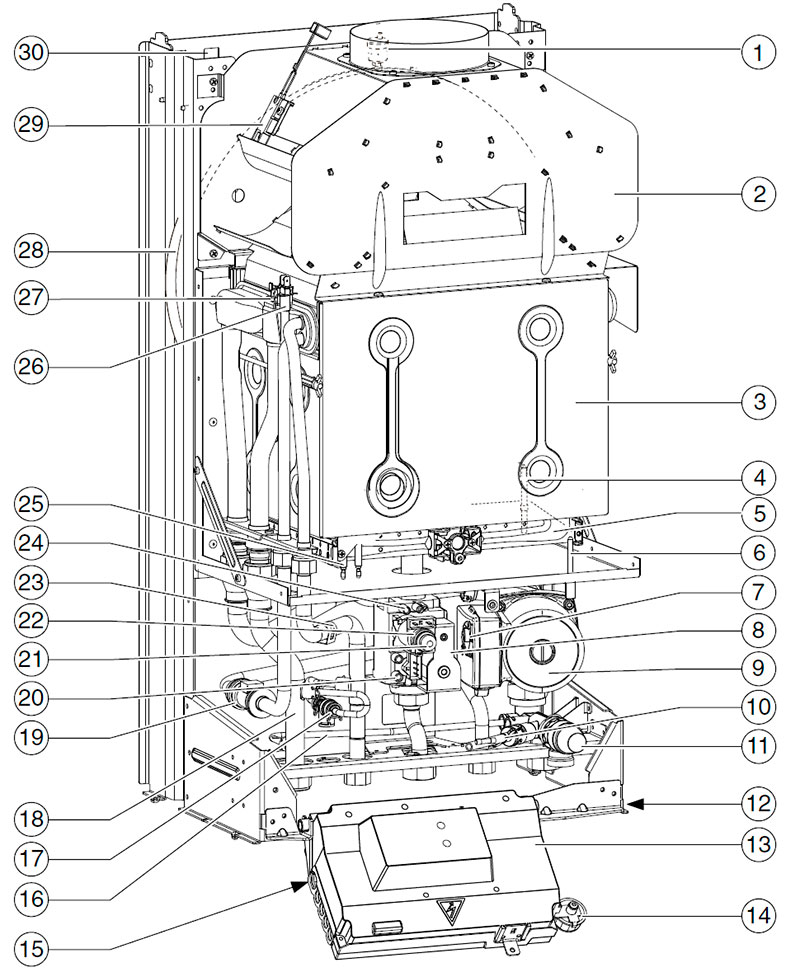 Устройство настенного котла Bosch Gaz 4000 W ZWA 24-2 K