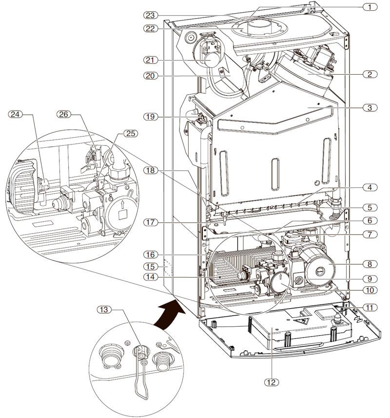 Устройство настенного котла Bosch Gaz 6000 W WBN 6000-35H