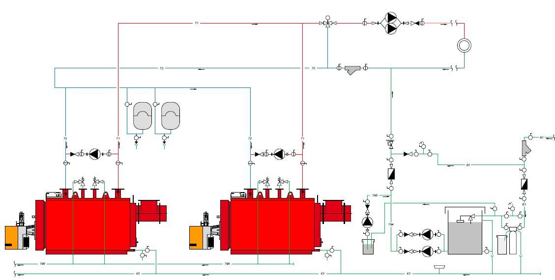 Пример установки с двумя котлами Колві-1000 и зависимым контуром теплоснабжения