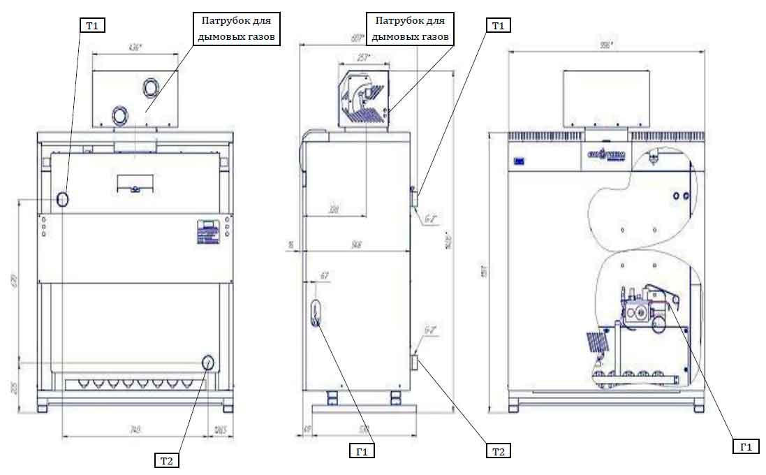 Габаритные и присоединительные размеры газового котла Колви КТН 1.100 СЕТ