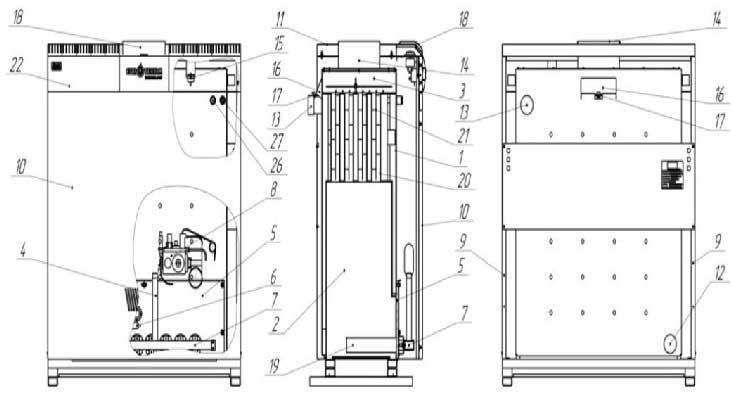 Устройство газового котла Колви Евротерм КТН 1.100 СР вид сбоку