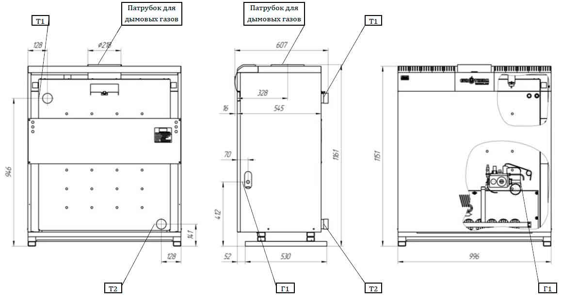 Габаритные и присоединительные размеры газового котла Колви КТН 1.100 СР