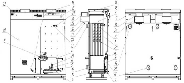 Устройство газового котла Колви Евротерм КТН 100 СР вид сбоку